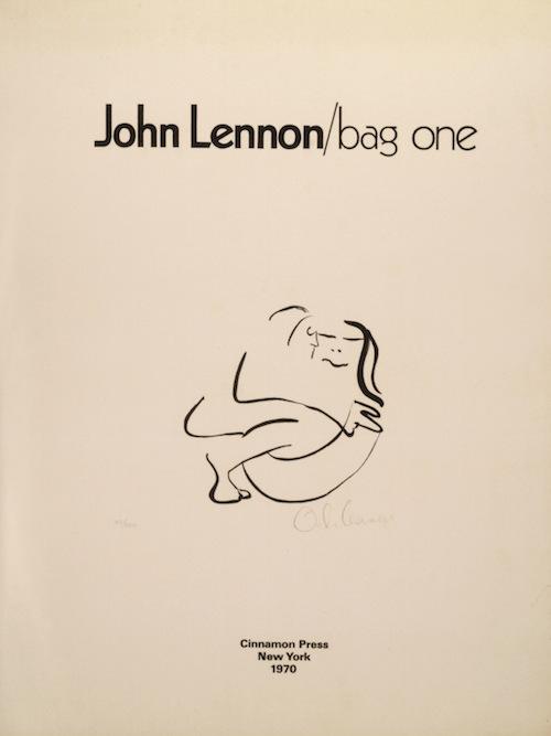 John Lennon, Bag One, (1969, serie di 14 litografie su carta BFK Rives, edizione 163/300, The Bank Street Atelier, Ltd., New York, Collezione Rolando Giambelli