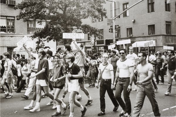 """Andy Warhol Gay Pride, 1976-1987 Silver gelatin print, 8 x 10"""" © 2014 The Andy Warhol Foundation for the Visual Arts, Inc. / Artists Rights Society (ARS), New York and DACS, London Courtesy FAIF Collection/Gallery focus21, Switzerland"""