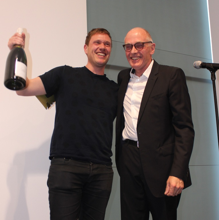 Richard Mosse (right) with Richard Wentworth (left) wins the Deutsche Börse Photography Prize 2014 © Bindi Vora Courtesy of The Photographers' Gallery, London