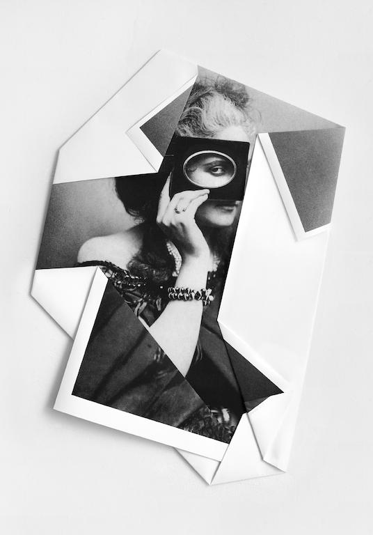 """Mario Cresci, dalla serie """"I rivolti"""", Contessa di Castiglione #1 (2013) stampa su carta Hahnemühle 100% cotone piegata a mano"""