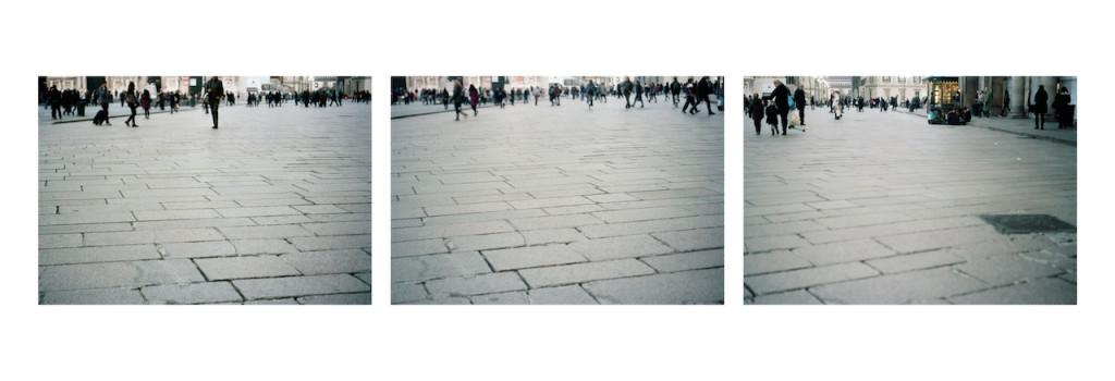 Marina Ballo Charmet Piazzaduomo 2013. stampa a colori da negativo. Trittico.