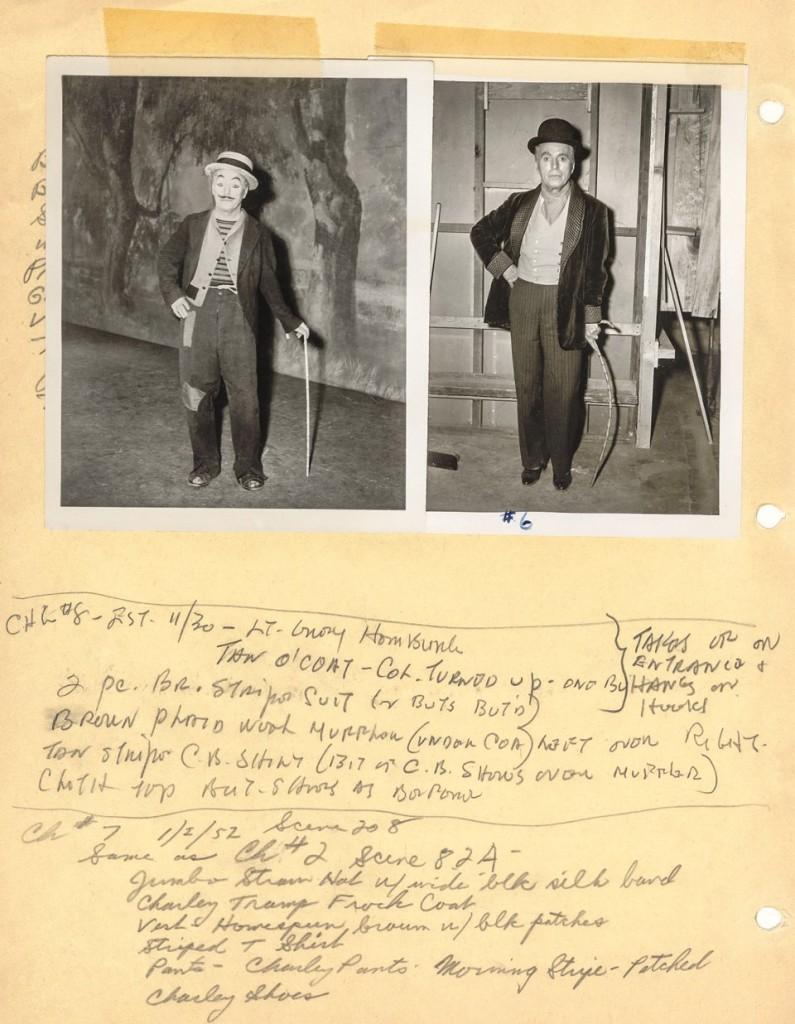Studi per l'abbigliamento del personaggio Calvero nel film Luci della ribalta (1952).  © Roy Export Company Establishment.
