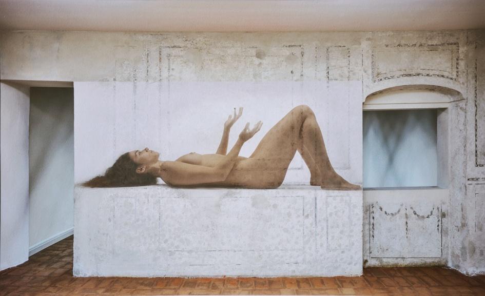Renato Begnoni Palazzo Bottagisio, interno 2015  (inedito) fine art smooth cotton white