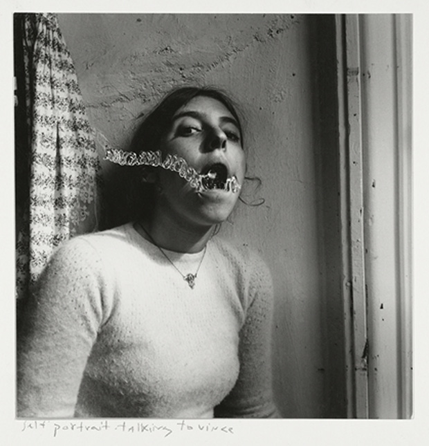 Francesca Woodman, Self-portrait Talking to Vince, Providence, Rhode Island, 1977 © George and Betty Woodman© George and Betty Woodman NB: No toning, cropping, enlarging, or overprinting with text allowed.