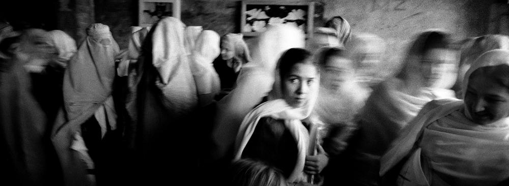 Kabul 2002 female students in a public school  Ph Riccardo Venturi