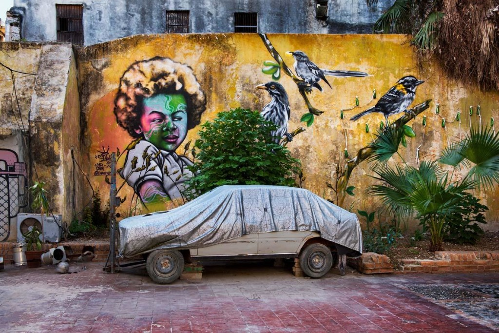 Steve McCurry: Old car parked by mural of girl with birds. Cuba, July 23, 2015. ©Steve McCurry