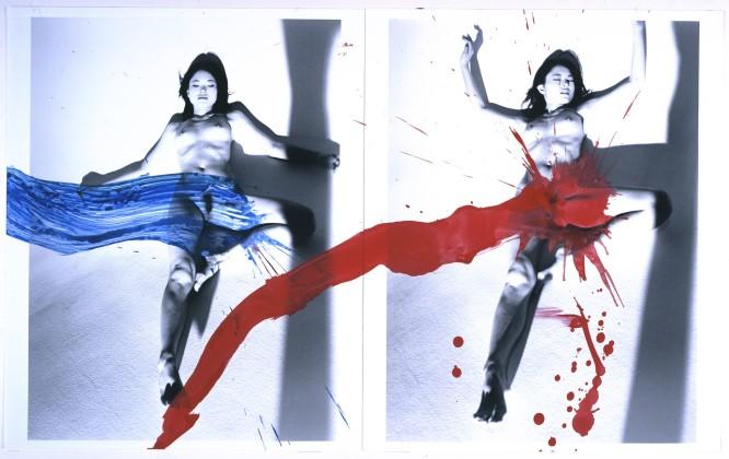 Nobuyoshi Araki - Amour de KaoRi (KaoRi Love) 2007 peinture acrylique sur deux tirages noir et blanc H. 55,9 cm ; L. 91,4 cm collection privée, New York © Nobuyoshi Araki/eyesencia