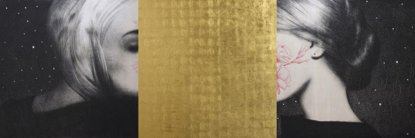 Omar Galliani, Nuovi Mantra, 2015, matita nera su tavola e foglia d'oro, trittico, cm. 150x450