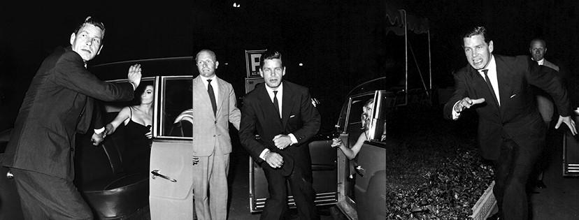 Tazio Secchiaroli, Anthony Steel si scaglia contro i fotografi. Roma, Agosto 1958. © Tazio Secchiaroli/David Secchiaroli
