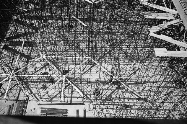 Roberto Gabetti torino rete dei ferri per il primo solaio della Borsa Valori 1954-55